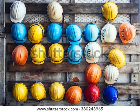 Safety Helmet Engineering Construction worker equipment - stock photo
