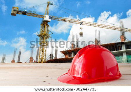 safety helmet in construction site - stock photo