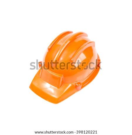 Safety helmet orange construction cap isolated on white background - stock photo