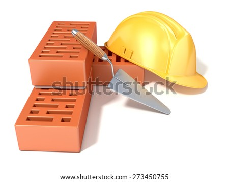 Safety helmet with rectangular perforated bricks and trowel. 3D render illustration, Isolated white background. Side, angled view. - stock photo