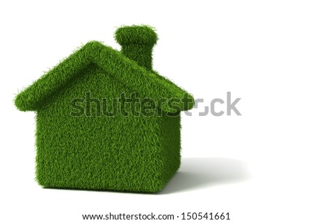 Safety housing for ecological health. The house covered with grass. concept - stock photo