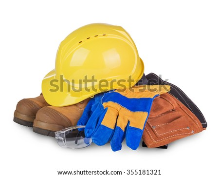 Safety industrial and construction equipment  isolated on white background - stock photo
