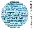 safety info-text graphics and arrangement concept on white background (word cloud) - stock