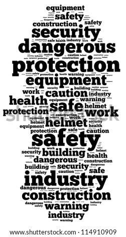 safety info-text graphics and arrangement concept on white background (word cloud) - stock photo