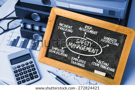 safety management concept diagram hand drawing on blackboard - stock photo