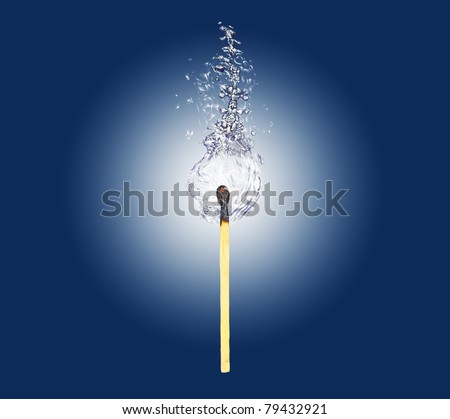 safety match burn watter flame - stock photo