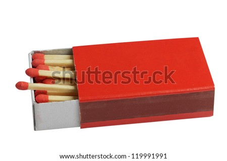 Safety matches in red box. - stock photo
