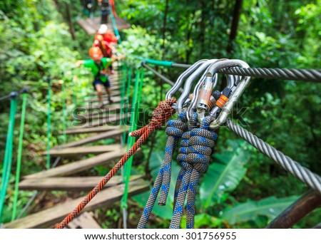 safety of zipline adventure - stock photo