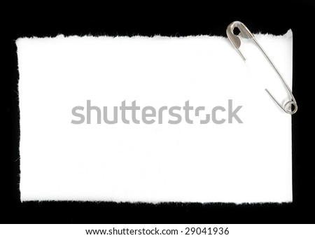 safety pin with blank paper