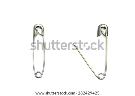 safety pins, open and closed isolated on a white background