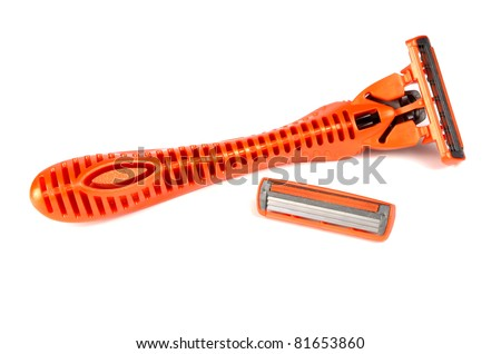 safety razor for shaving isolated on white background - stock photo