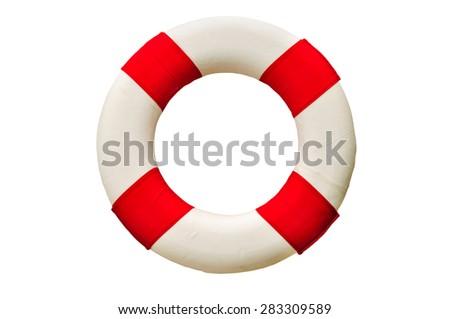Safety Ring (lifebuoy) isolated on white background. - stock photo