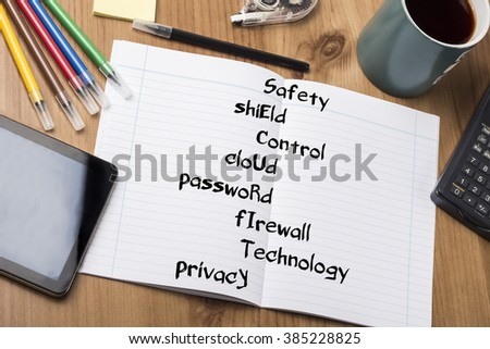 Safety shiEld Control cloUd passwoRd fIrewall Technology prIvacy SECURITY - Note Pad With Text On Wooden Table - with office  tools - stock photo