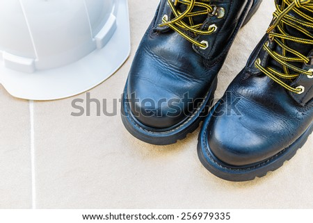 safety shoe and safety helmet High Angle View - stock photo