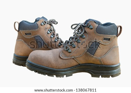 Safety shoes with white isolated - stock photo