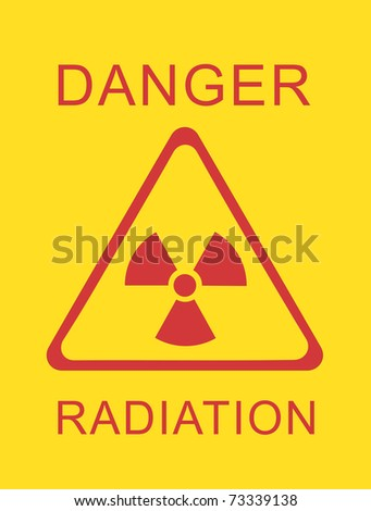 Safety sign for high radiation area - stock photo
