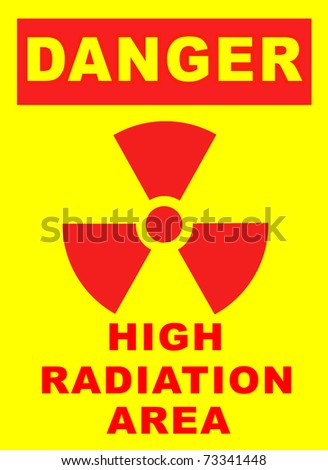Safety sign for high radiation area on a yellow background - stock photo
