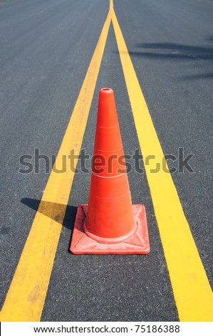Safety Traffic Cones on road - stock photo