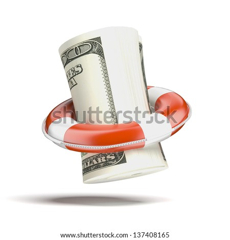 Safety Transfer with dollars - stock photo