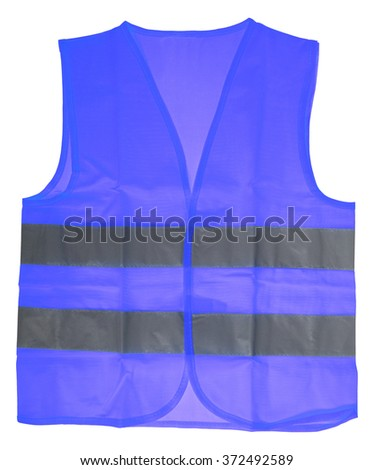 Safety vest in blue with reflective stripes isolated over a white background / Safety Vest - stock photo