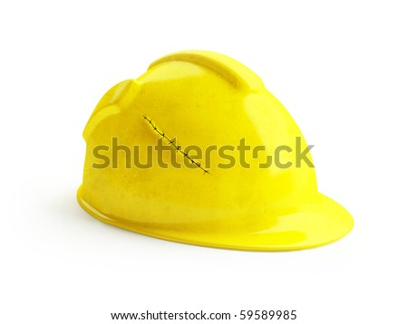 Safety yellow helmet with suture incident wound