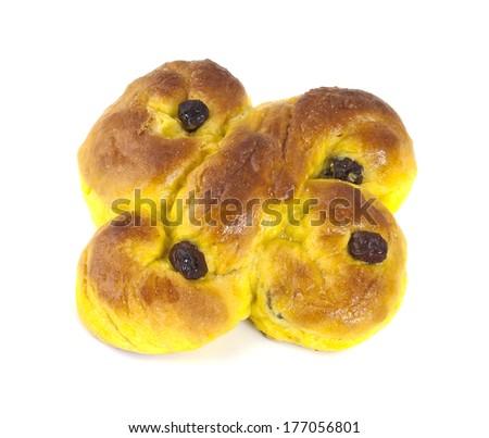 Saffron bun isolated on white background - stock photo