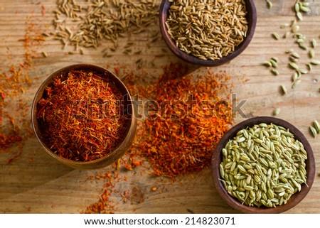 Saffron, fennel seeds, - stock photo
