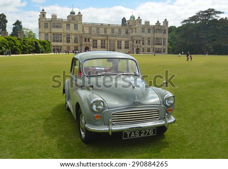 SAFFRON WALDEN, ESSEX, ENGLAND - JUNE 21, 2015: Classic Morris Minor in vintage motor show. - stock photo