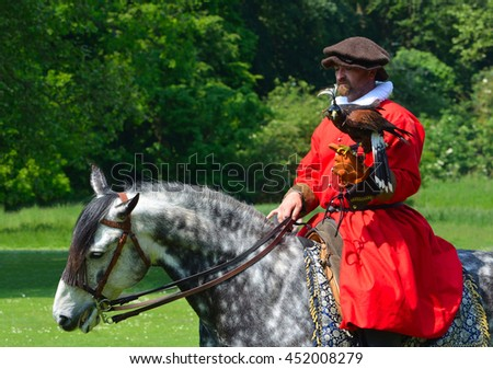 SAFFRON WALDEN, ESSEX, ENGLAND - JUNE 05, 2016: Hooded Harris Hawk on the glove of a man wearing a red  Elizabethan costume riding a white horse. - stock photo