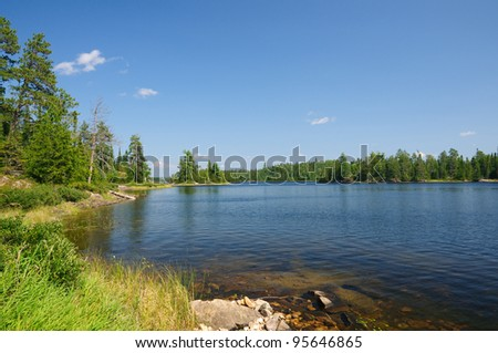 Saganagons Lake in Quetico Provincial Park - stock photo