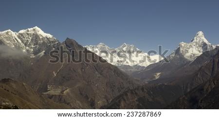 Sagarmatha National Park. Panorama with Everest and Ama Dablam. Himalayas, Nepal. - stock photo
