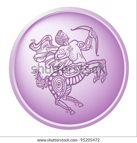 sagittarius, button with sign of the zodiac - stock photo