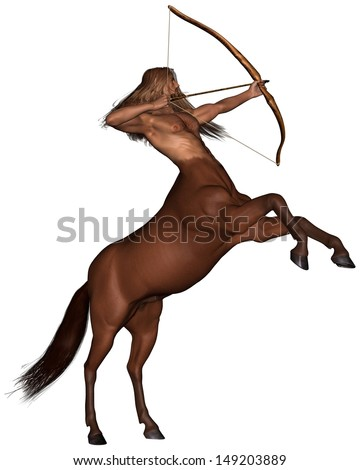 Sagittarius the centaur archer representing the ninth sign of the Zodiac - rearing, 3d digitally rendered illustration - stock photo