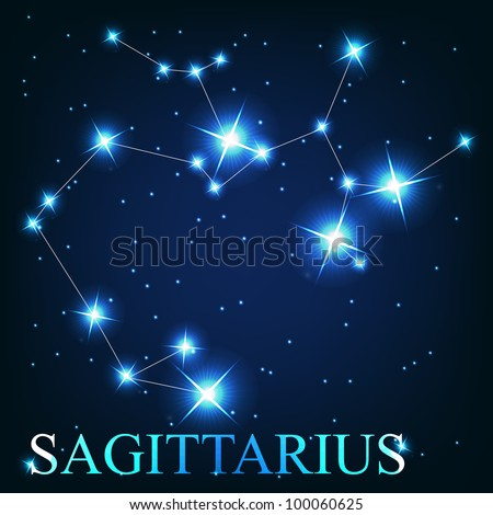 Sagittarius zodiac sign of the beautiful bright stars on the background of cosmic sky - stock photo