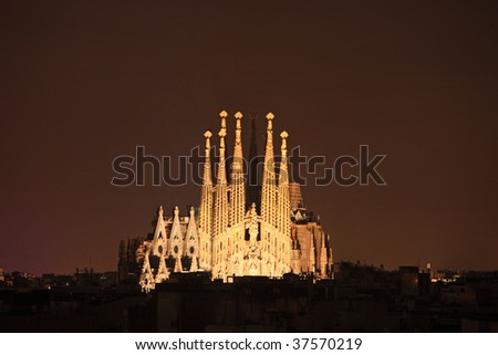 Sagrada familia cathedral in Barcelona, Spain at night - stock photo