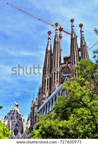 Sagrada Familia Cathedral. The unfinished cathedral is UNESCO World Heritage Site and one of main tourist destinations in Barcelona, Spain. Photo taken 05/28/2017.