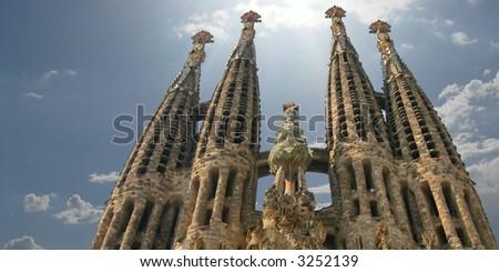 Sagrada Familia church in Barcelona, Spain - stock photo