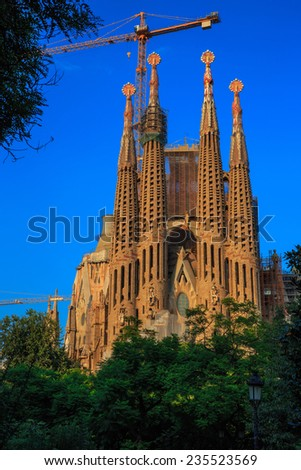 Sagrada Familia Temple in Barcelona 2 October 2014. - stock photo