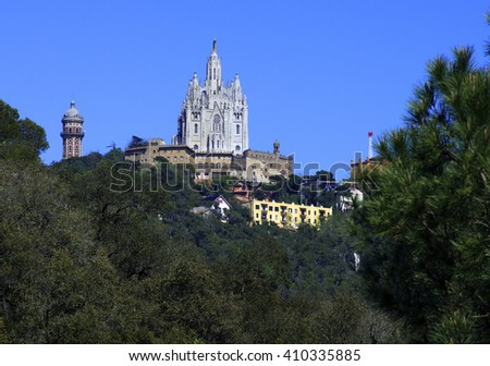 Sagrat Cor church on Mount Tibidabo in Barcelona.Catalonia,Spain - stock photo