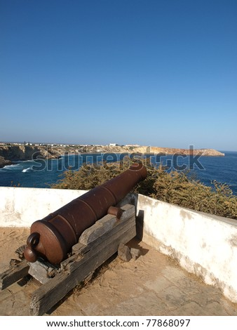Sagres Point - Cannon inside the fortress - stock photo
