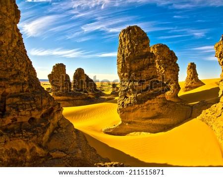 Sahara Desert,Algeria - stock photo
