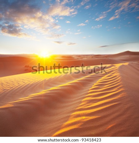 Sahara desert at sunset - stock photo
