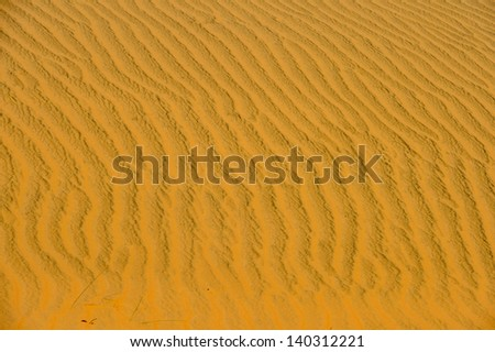 Sahara desert dune. The Sahara stretches from the Red Sea, including parts of the Mediterranean coasts, to the outskirts of the Atlantic Ocean.