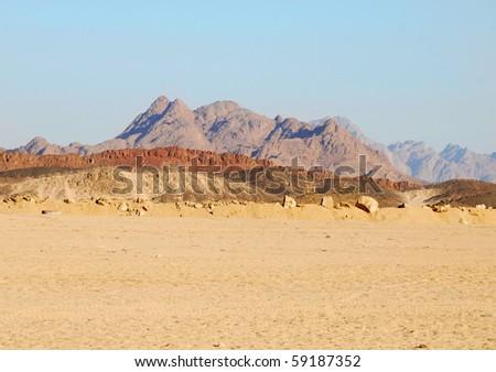 Sahara desert landscape in Egypt, North Africa - stock photo