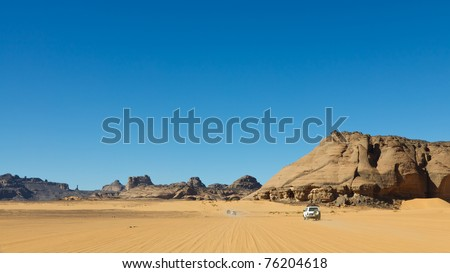 Sahara Desert Safari - Akakus (Acacus) Mountains, Sahara, Libya - stock photo