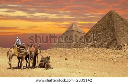 Sahara sunset - stock photo