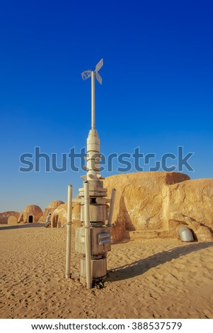 SAHARA, TUNISIA - JUNE 16: Abandoned sets for the shooting of the movie Star Wars in the Sahara desert on a background of sand dunes on JUNE 16, 2013 in Sahara, Tunisia