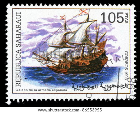 SAHARAUI - CIRCA 1998: A stamp printed in Saharaui shows image of a sailing ship, circa 1998
