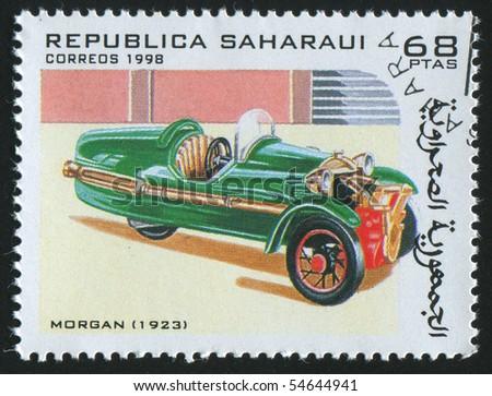 SAHARAUI - CIRCA 1998: stamp printed by Saharaui, show retro car, circa 1998. - stock photo