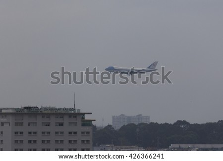 Sai Gon, Vietnam 24 May 2016: The Boeing VC-25A (747-200B) aircraft, Air Force One, President of the United State of America Barack Obama prepare to land at Tan Son Nhat International Airport  - stock photo